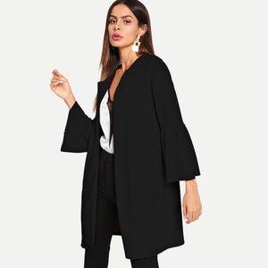 Shein Flounce Sleeve Open Front Coat